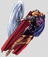 Thor flying with the young Captain Mar-vell
