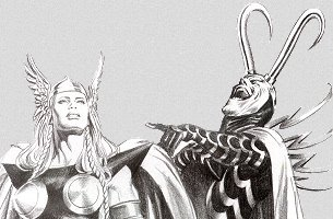 Loki pointing and laughing at the female Thor